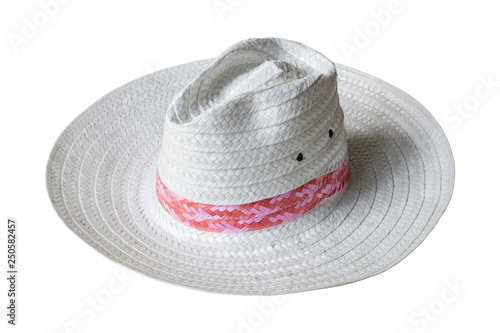 321d2290ad9 white straw hat isolated on white background with clipping path ...