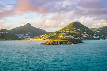 Wall Mural - Philipsburg, St Maarten. Sea and mountain landscape at sunset.