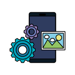 smartphone with gears and picture