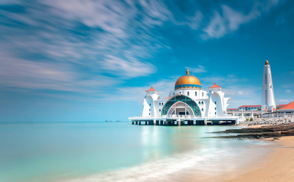 Malacca Straits Mosque or Masjid Selat Melaka. It is a mosque located on the man-made Malacca Island near Malacca Town. Malaysia