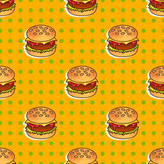 Food seamless vector pop pattern with burger for girls, boys, clothes. Creative background. Funny wallpaper for textile and fabric. Fashion style