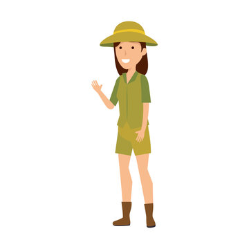 woman worker of zoo character