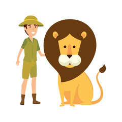 man worker of zoo with lion