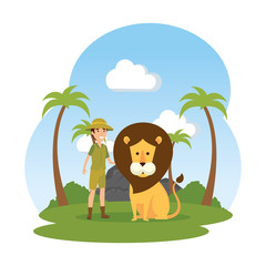 man worker of zoo with lion in the landscape
