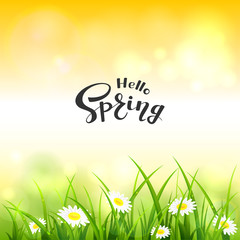 Orange Nature Background and Lettering Hello Spring