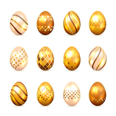 Set of Golden Easter Eggs