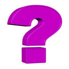 Violettes Fragezeichen vor weißem Hintergrund