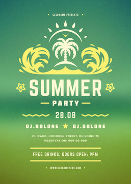 Retro summer party poster or flyer design template.