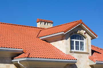 Ceramic Tiled Roof On House Wall mural