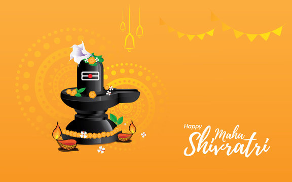Hindu Festival Maha Shivratri Greeting Background Template Design with Lingam Vector Illustration