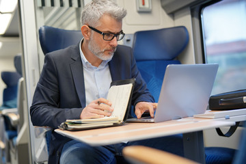 Mature businessman working on laptop while traveling in train