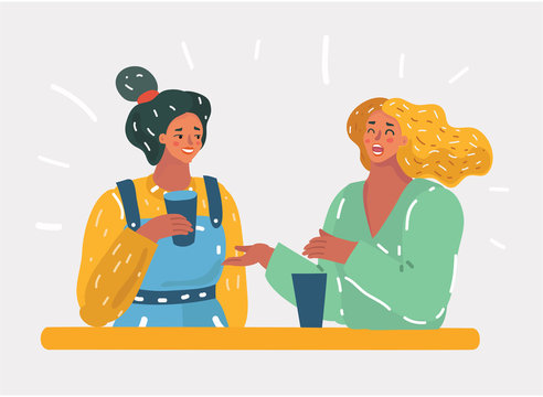 Two female friends sitting in a cafe and have fun.