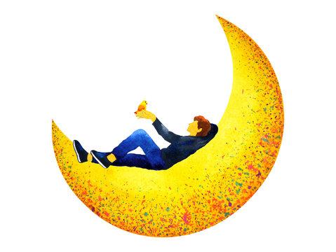 man sitting on yellow moon watercolor painting illustration design