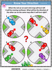 Map skills and cardinal directions learning, training, practice activity page or worksheet with cars and city mini-maps. Answer included.