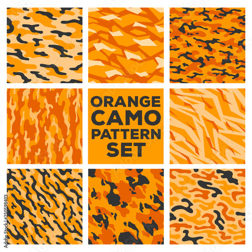 Orange camouflage patterns  Collection of 8 seamless pattern
