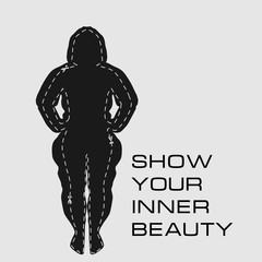 "The silhouette of a fat girl and the result she can achieve by doing fitness with the motivating slogan ""Show your inner beauty"""