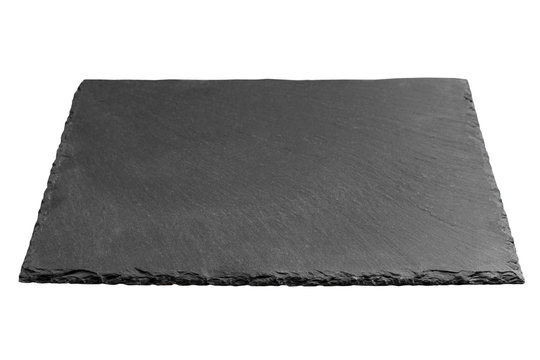 Empty black square slate plate isolated on white background. slate board isolated