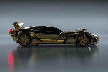 Goldener Sportwagen (3D Rendering)