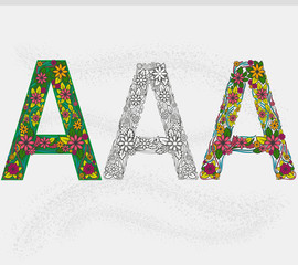 Vector letter A in the form of flowers in three styles.