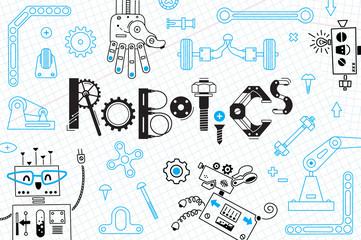 Robotics for kids. Banner or card. Robots and details for construction. Vector illustration