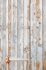Shabby Wood Door Background / Shabby chic white wooden plank door with rusty hinge and flaking paint (copy space)