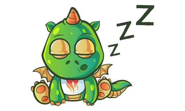 Vector cartoon illustration of cute baby dragon is sleeping. Isolated on white background.