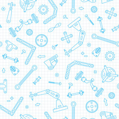 Lamas personalizadas infantiles con tu foto Seamless pattern with the details and gears for construction Robotics. Vector illustration