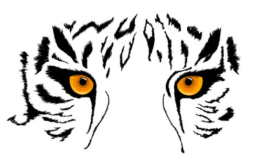 Tiger Eyes Mascot. Vector illustration. Isolated on white background.
