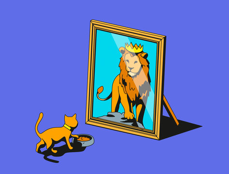 Cat looking in mirror and seeing lion reflection