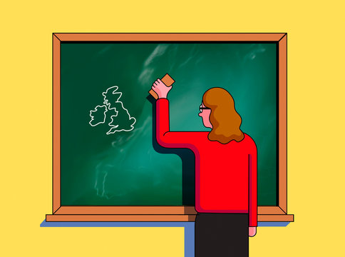 Teacher erasing European Union and leaving map of British Isles