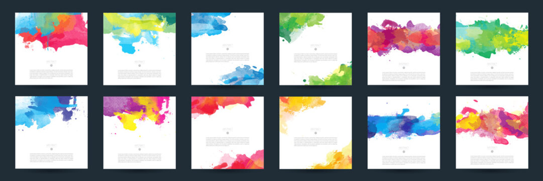 Big set of bright colorful vector watercolor background for poster, brochure or flyer