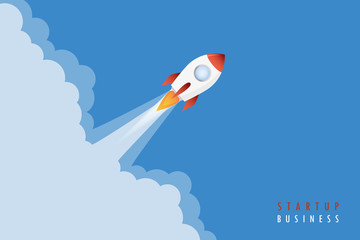 startup business concept rocket launch smoke vector illustration EPS10