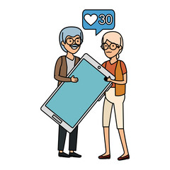 grandparents couple with smartphone and speech bubble