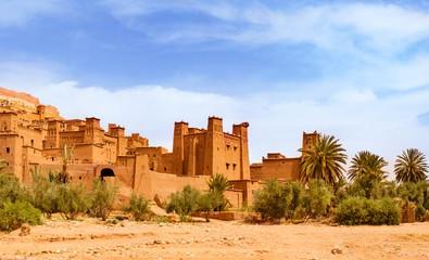 Foto op Plexiglas Marokko Amazing view of Kasbah Ait Ben Haddou near Ouarzazate in the Atlas Mountains of Morocco. UNESCO World Heritage Site
