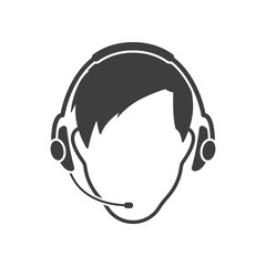 The man's face in headphones with a microphone. Vector on white background
