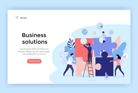 Business solution concept illustration, perfect for web design, banner, mobile app, landing page, vector flat design