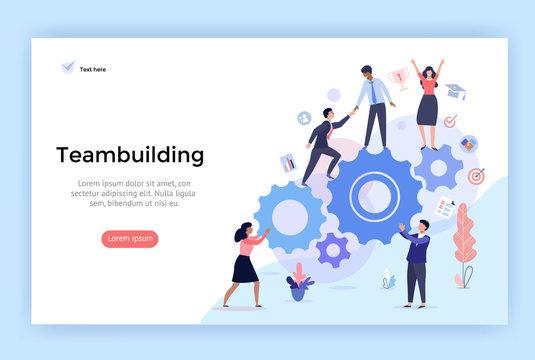 Teambuilding concept illustration, perfect for web design, banner, mobile app, landing page, vector flat design