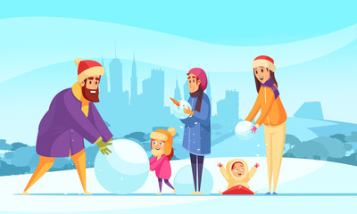Family Winter Active Holidays Illustration