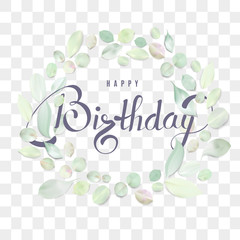 Happy Birthday text calligraphy template with flower petals and lettering.