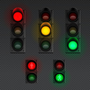 Traffic Lights Realistic Transparent Icon Set
