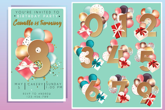 Birthday party invitation template with numbers