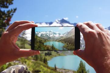 Smartphone taking photo.