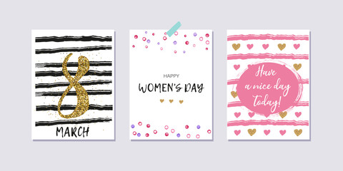 Happy women's day. Set of International Women's day greeting cards. Brush lettering. Hand drawn hearts, stripes. Gold, pink, black and white colors. Collection of 8 march poscards with greeting tags.