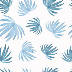 Watercolor  abstract pattern of painting coconut palm leaf,blue leaves isolated on white background.Watercolor hand painted tropic sky blue leaves.