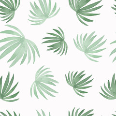 Watercolor pattern of painting coconut palm leaf,green leaves isolated on white background.Watercolor hand painted tropic leaves.