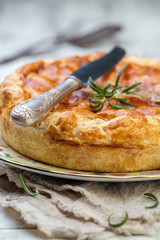 Traditional French closed pie with potatoes.