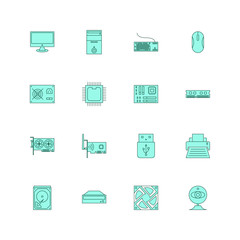 Computer hardware and accessories icon set outline fill style