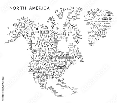 North America Travel Line Icons Map. Travel Poster with animals and ...
