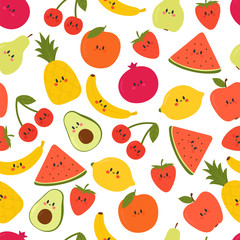 Cute seamless pattern with cartoon fruits. Kawaii. Creative healthy background. Modern stylish texture. Great for fabric, textile, wrapping