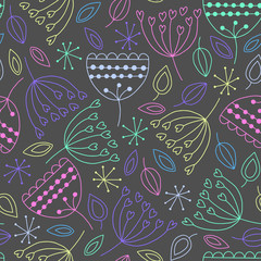 Fototapete - Seamless pattern with different plants